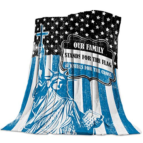 EARLYBUS Independence Day Flannel Throw Blanket Fuzzy American Flag Statue of Liberty Blue Super Soft Cozy Shaggy Microfiber Reversible Breathable All Season Couch Bed Soft Full 40x50 inch ()