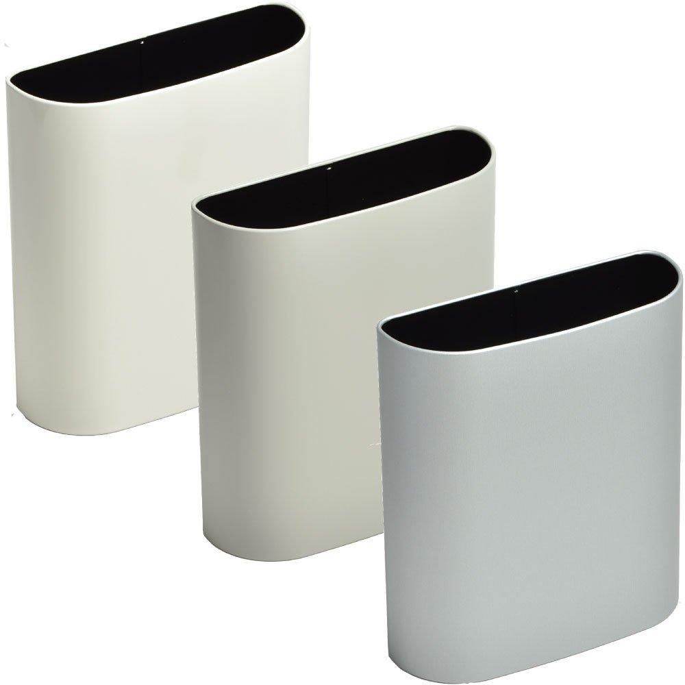 ぶんぶく マグネットバケット 全9色の中から選べる3個セット ゴミ箱 ごみ箱 ダストボックス おしゃれ 日本製 (アイボリー×グレー×シルバーメタリック) B075K4QZHL アイボリー×グレー×シルバーメタリック アイボリー×グレー×シルバーメタリック