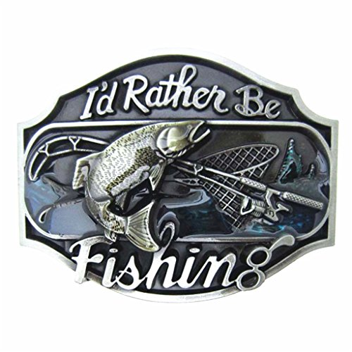 MASOP Western Style Funny Casual Belt Buckle I'd Rather Be Fishing (Funny Belt Cool Buckle)