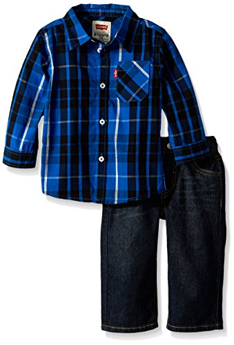 Free Levi's Baby Boys' 2PC Button Down Shirt and Jean Gift Set, Prince Blue Midnight, 18 Months