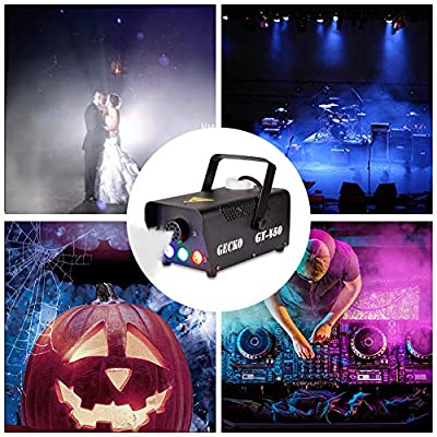 Fog Machine,GECKO Smoke Machine hood portable LED light with wired and wireless remote control, fast heating, suitable for parties, Christmas, Halloween and wedding from GECKO