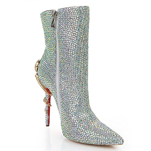 Solid colorful Boots Rhinestones High Color Short Sharp Shoes DYF Heel Colorful qxSzHnRtw