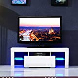 SUNCOO LED TV Stand Unit Cabinet w/Drawer Console Furniture High Gloss White