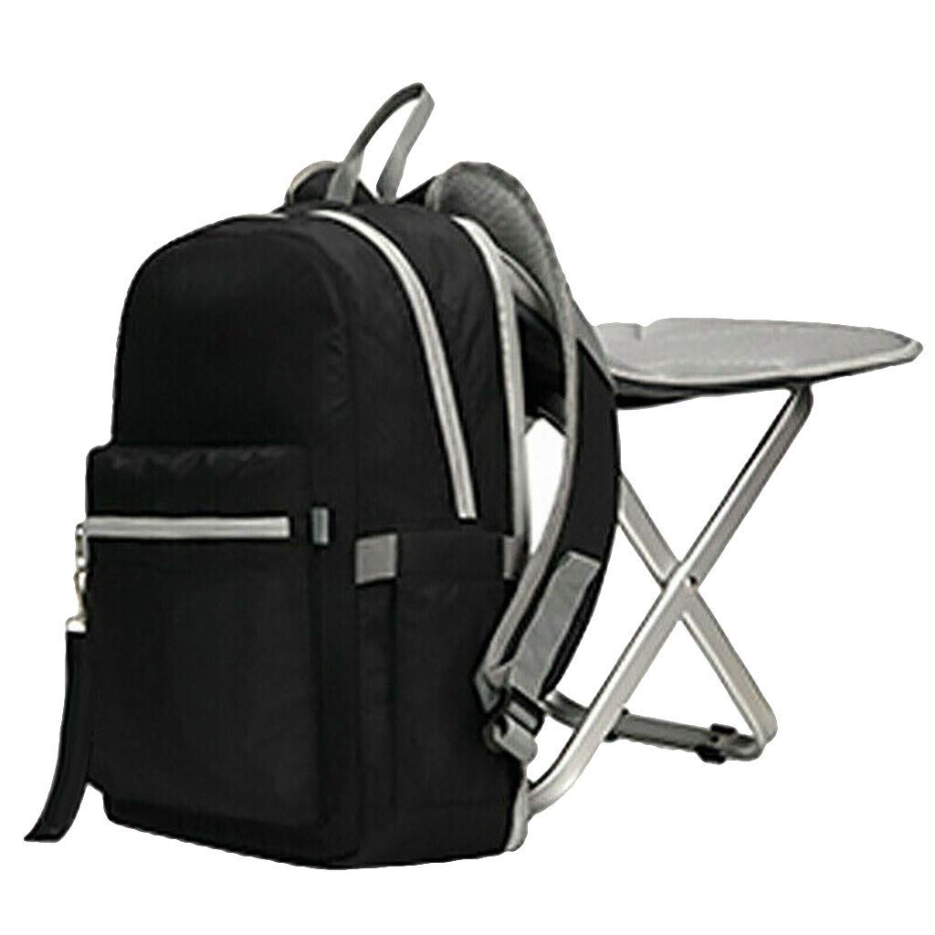 Jeeke Backpack Stool Combo Portable & Folding Camping Chair Stool Backpack with Padded Shoulder Straps Hiking Seat Table Bag Camping Gear for Fishing Travel Beach BBQ (Black)
