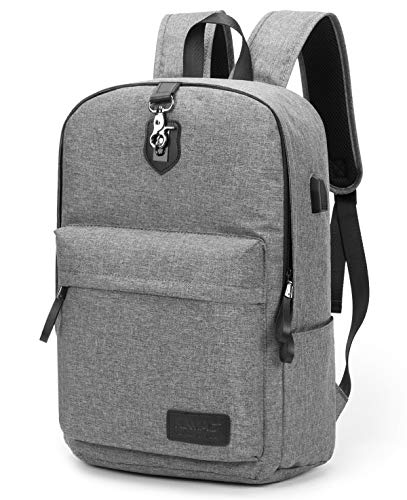 Anti Theft Laptop Backpack with USB Charging Port,Slim Travel College Bookbag for MacBook Computer Laptop, School Computer Bag for Women & Men by Kinmac (15inch, Grey)