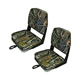 Fishing/Hunting Low Back Fold-Down Boat Seat,2Packs Color Camo/Grey/Blue (White/Red) (Camo)