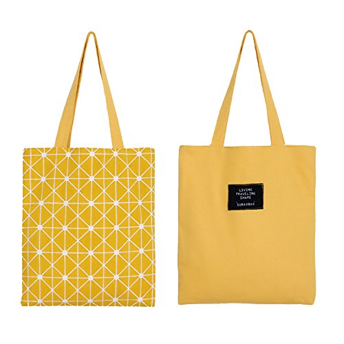 Flowertree Women's Graphic Pattern Handmade Reversible Canvas Tote Bag (yellow plaid) (Shopper Print Canvas)
