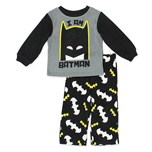 Toddler Fleece Bat Costumes (Batman Boys Fleece Pajamas (Toddler/Little Kid) (4T, Black))
