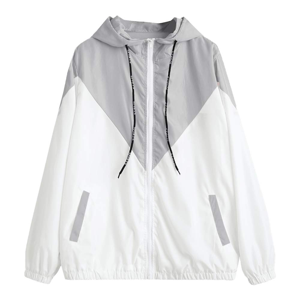 ZAFUL Women's Hooded Windbreaker Jacket Sport Zipper Two Tone Lightweight Jackets Sweatershirt Outwear Streetwear