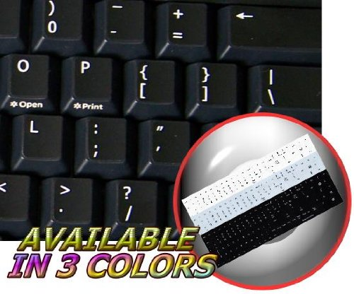REPLACEMENT ENGLISH US KEYBOARD STICKER ON BLACK BACKGROUND