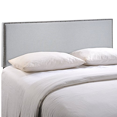 Modway Region Upholstered Linen Headboard Full Size With Nailhead Trim In Sky Gray - Classic Nailhead Trim