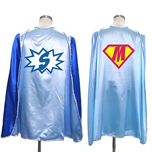 Everfan Personalized Superhero Capes for Kids | Custom Child Super Hero Cape | Cape Costume for Children | Polyester Satin (Light Blue)