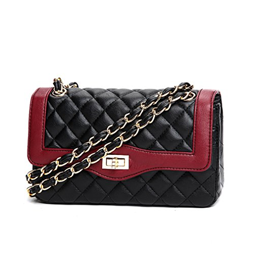 Marchome Women Classic Quilted Chain Crossbody Shoulder Bag with Golden Hardware Red