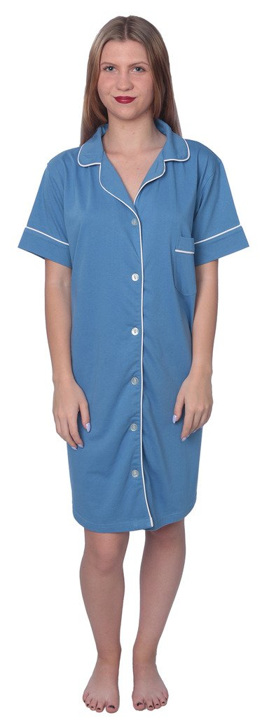 Beverly Rock Women's Soft Jersey Knit Cotton Blend Button Down Sleepshirt Pajama Top with Piping Finish Y18_WPJ01 Blue 3X by Beverly Rock (Image #3)