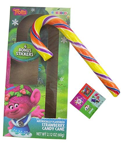 Dreamworks Trolls Candy Cane with Stickers Gift Set, 2.12 oz, Pack of 12