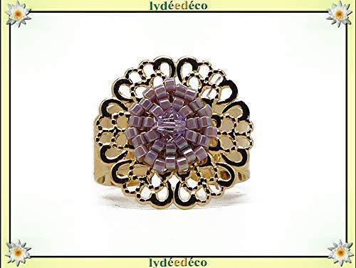 Anillo flor de latón dorado fino oro 24 quilates de perlas malva lila pastel Japonés 20 mm ajustable fiesta de navidad de las madres abuelas regalo personalizado cumpleaños san Valentín amante gracias