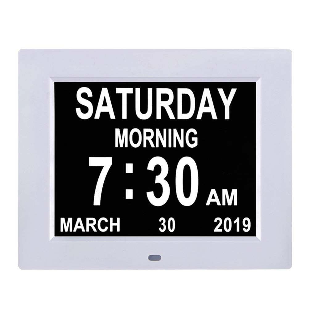 Level 5 Auto Dimmable Display Extra Large Non-Abbreviated Day and Month Perfect for Seniors 12 Alarm Options Newest Version Large Display Digital Caendar Day Clock