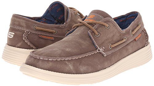 Skechers USA Men's Status Melec Boat Shoe, Light - Canvas Boat Shoes
