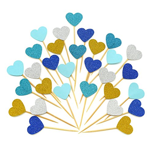 Cupcake Toppers 30Pcs Set, GUGUJI Funny Heart Glitter Mini Birthday Cake Snack Decorations Picks Suppliers Party Accessories for Wedding and Baby Birthday (Blue Series)