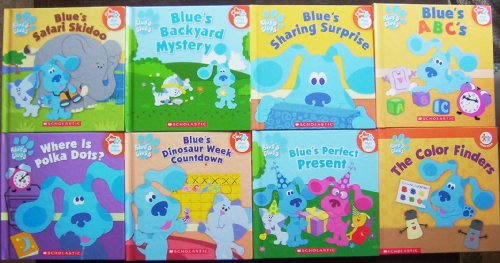 Blue's Clues Children's Books Nick Jr Play to Learn Lot of 8 (Blue's Perfect Present, Blue's Sharing Suprise, the Color Finders, Blue's A B C's, Blue's Backyard Mystery, Blue's Safari - Present Finder Perfect