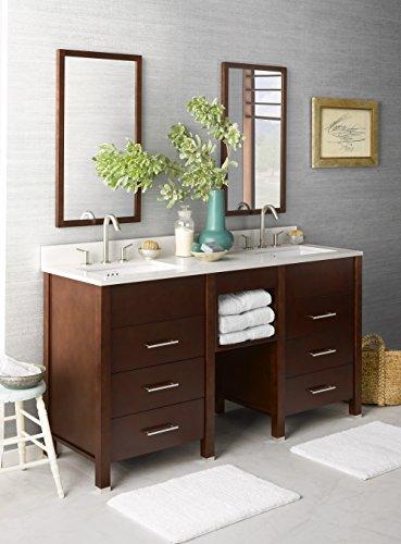 RONBOW Kali 62 inch Bathroom Vanity Set in Dark Cherry, Double Bathroom Vanity with Top and Backsplash in White, Dark Cherry Bathroom Mirrors, White Ceramic Vessel Sink - 62 Inch Vanity
