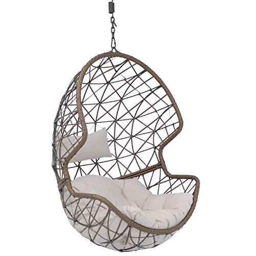 Sunnydaze Danielle Hanging Egg Chair Swing, Resin Wicker Basket Design, Indoor or Outdoor Use, Includes Gray Cushion