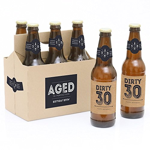30th Milestone Birthday - Dashingly Aged to Perfection - 6 Birthday Party Beer Bottle Labels and 1 Carrier