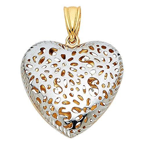 14k Yellow White Gold Puffed Heart Pendant Charm Diamond Cut Hollow Fancy Two Tone 20 x 21 -