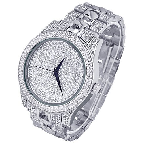 Techno PaveMen's Hip Hop Luxury Bling Bling CZ Fashion Silver Plated Metal Band Watch WM 8216 S