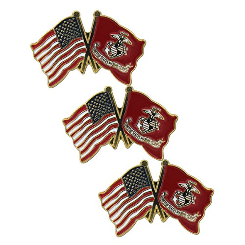 US and Marine Lapel Pin (3 PK)