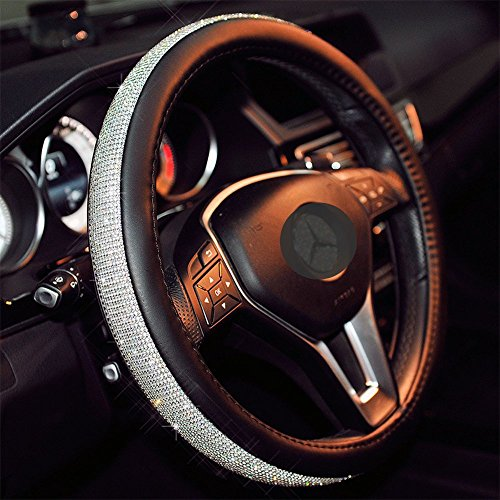 Sino Banyan Cystal Steering Wheel Cover,with PU Leather Bling Bling Rhinestones,Black & (Rhinestone Accessories)