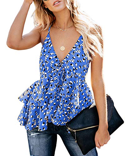 (Women's Sexy V Neck Backless Camisole Ruffle Hem Printed Peplum Cami Top Blue)