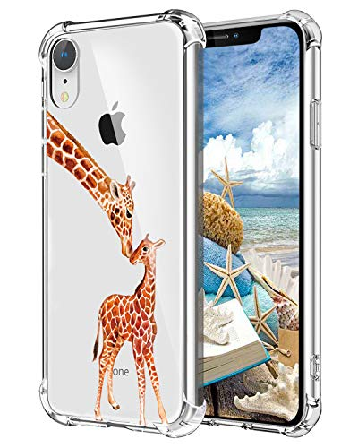 Hepix Giraffe iPhone XR Case Cute Animals Xr Clear Cases, Two Lovely Giraffes Xr Phone Case Protective Slim Flexible Soft TPU with Reinforced Bumpers, (Giraffe Phone Jack)