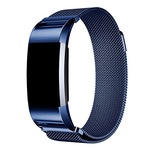 Price comparison product image Dreamyth Milanese Stainless Steel Watch Band Strap Bracelet + HD Film for Fitbit Charge 2 (Blue)
