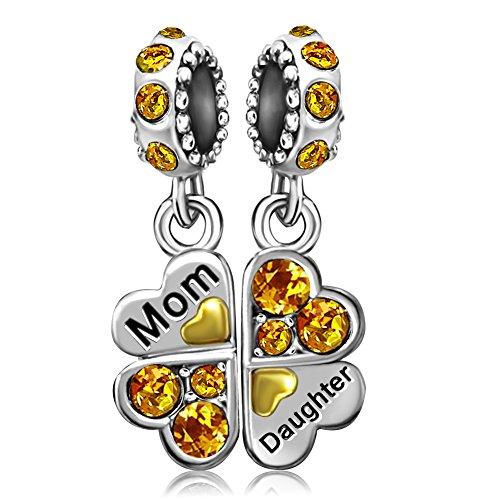 - JMQJewelry Clover Mom Heart November Birthstone Daughter Mother Dangle Charms Bead for Bracelets