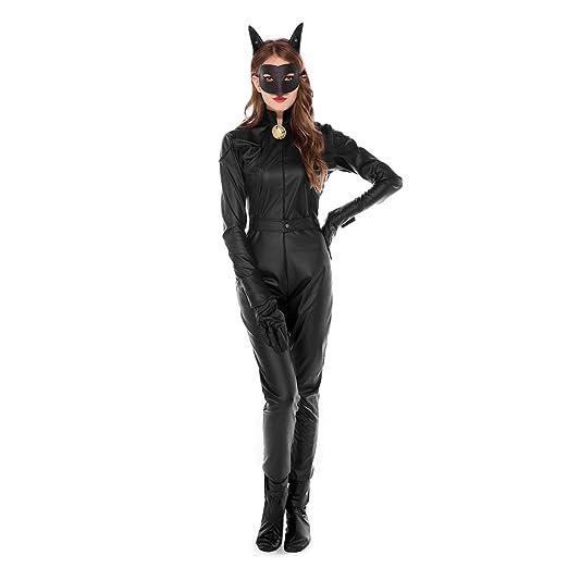 Disfraz de Gato Mujer Costume Catsuit Traje con Mascara ...