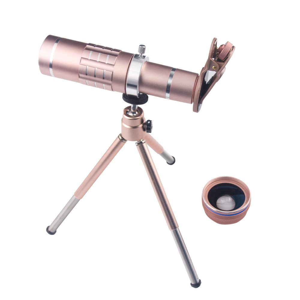 3 in 1 Smart Phone Lens Kit 18X Telephoto Lens Wide Angle Lens Macro Lens with Tripod and Universal Clip for iPhone Samsung Most Smartphones (Rose Gold)