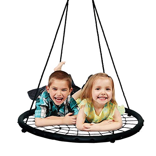 Best Sunshine 40'' Spider Web Tree Swing Net Swing for kids, Indoor/Outdoor Round Web Swing Platform Spider Swing for Backyard, Playground, Playroom, Adjustable hanging ropes, Max 600 Lbs