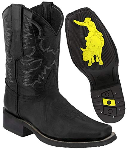 (Texas Legacy - Men's Black Leather Western Cowboy Boots Rubber Sole Square Toe 13.5 E US)