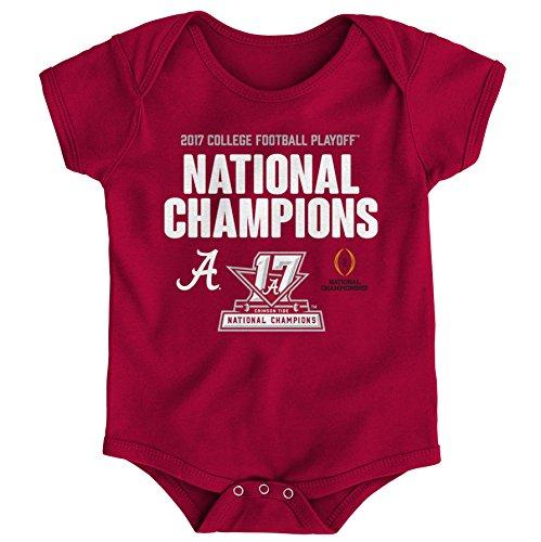 (NCAA Alabama Crimson Tide Kids NCAA Football Champion Short sleeve Creeper, 12 Months, Dark Red )