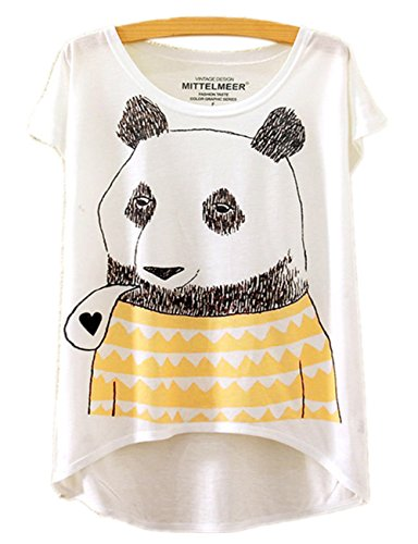 RAISEVERN womens Summer Cute Panda Short Sleeve T-Shirts Tops Blouse