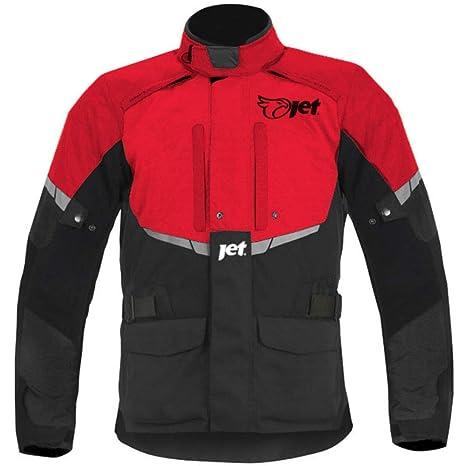 JET Chaqueta Moto Hombre Textil Impermeable con Armadura Tourer (S (EU 46-48), Rojo)