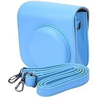 Mini bolso de cámara, portátil Universal de cuero de PU Bolso de hombro único portátil Bolso bandolera Funda de transporte Funda de protección para cámara Fujifilm Instax mini 8/8 +/9(Azul claro)