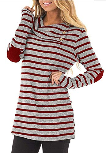 ETCYY Women's Long Sleeve Striped Button Cowl Neck Tunic Sweatshirts Tops by ETCYY