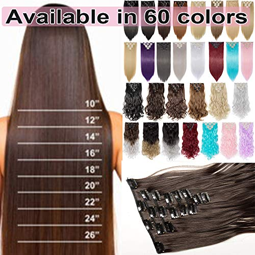S-noilite 8PCS/SET Full Head Clip in Hair Extensions 140Grams Thick Real Natural Synthetic Hairpiece(26inches-straight, Wine Red)