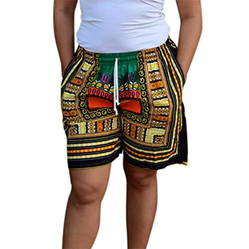 Domple Womens African Dashiki Shorts Boho Ethnic Print Short Beach Shorts
