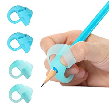 Yuccer Lápices Agarres para Niños, 4 PCS Ergonómica Apretón Escritura de Ayuda Apretón de Lápiz (Azul)