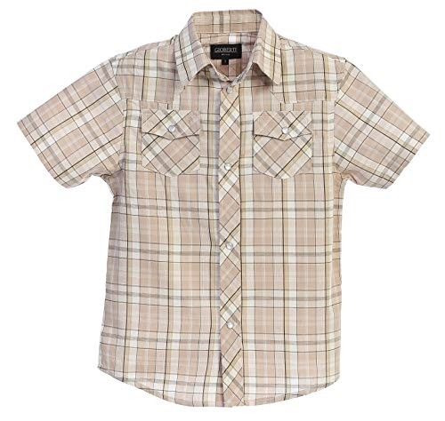 (Gioberti Boys Casual Western Plaid Pearl Snap-on Buttons Short Sleeve Shirt, Khaki/Brown : Size 5)