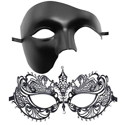 Classic Couples Costumes (Couple's Venetian Masquerade Mask Set Luxury Style Princess Party Mask)