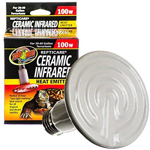 Zoo Med ReptiCare Ceramic Infrared Heat Emitter 100 watt, for 30-40 Gallon Terrarium use Bundle with Carolina Custom Cages